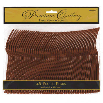 Chocolate Brown Premium Heavy Weight Plastic Forks 48ct.