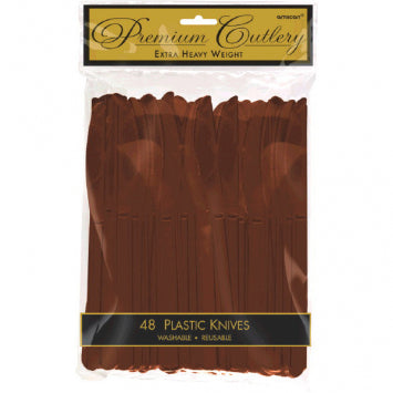 Chocolate Brown Premium Heavy Weight Plastic Knives 48ct.