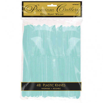 Robin's Egg Blue Premium Heavy Weight Plastic Knives 48ct.