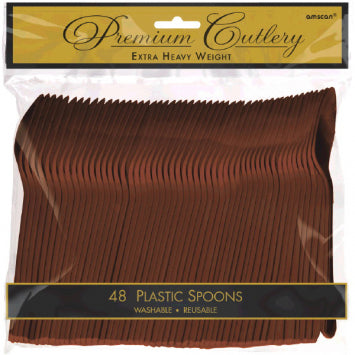 Chocolate Brown Premium Heavy Weight Plastic Spoons 48ct.