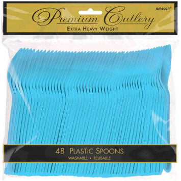 Caribbean Blue Premium Heavy Weight Plastic Spoons 48ct.