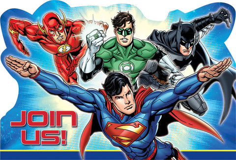 Justice League Postcard Invitations 8ct.