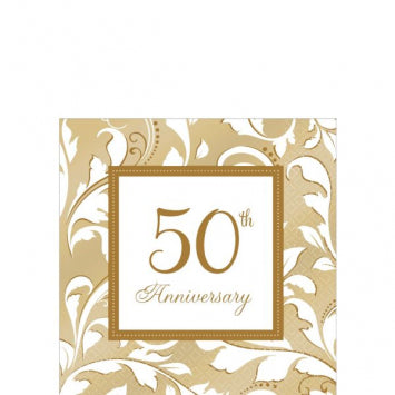 50th Anniversary Beverage Napkins 16ct.