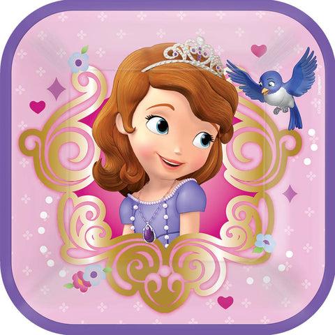 "Disney Sofia The First Square Plates, 7"" 8ct."