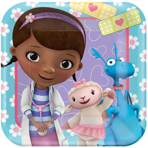 "Disney Doc McStuffins Square Plates, 7"" 8ct."