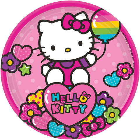 "Hello Kitty Rainbow 7"" Round Plates 8ct."
