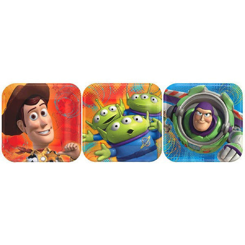 "Disney Toy Story Power Up 7"" Square Plates, Assorted 8ct."