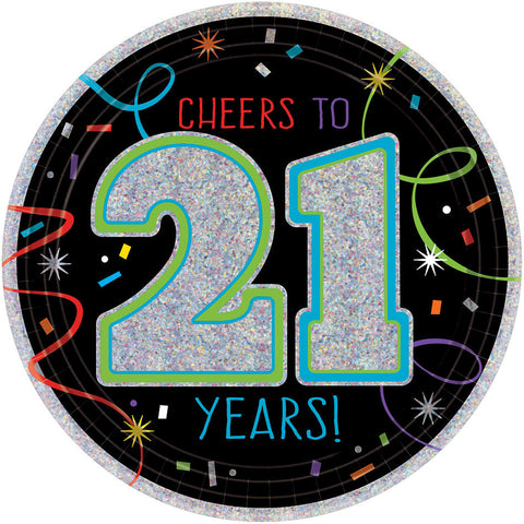 "21st Brilliant Birthday Prismatic Round Plates, 7"" - 21st Birthday 8ct."