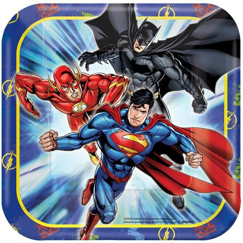 "Justice League Square Plates, 7"" 8ct."