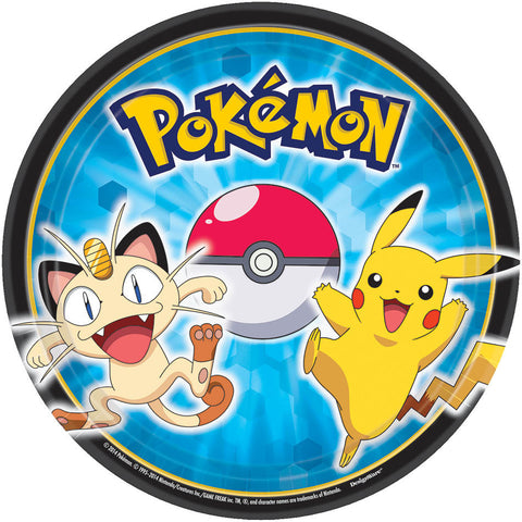 "Pikachu and Friends 7"" Round Plates 8ct."