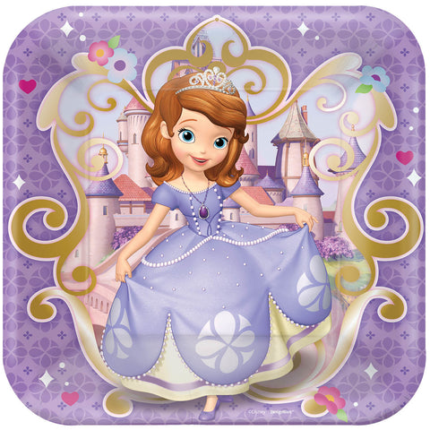 "Disney Sofia The First Square Plates, 9"" 8ct."