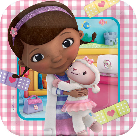 "Disney Doc McStuffins Square Plates, 9"" 8ct."
