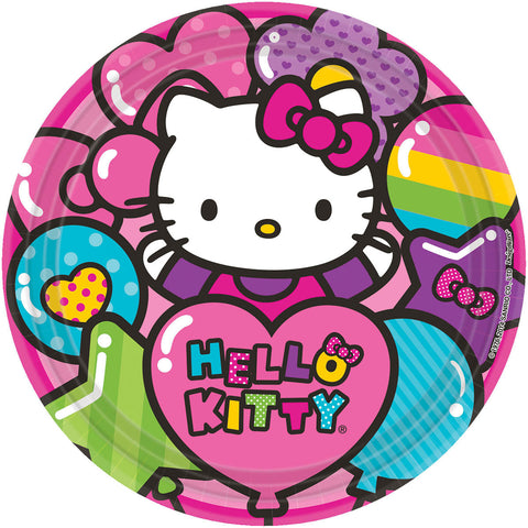 "Hello Kitty Rainbow 9"" Round Plates 8ct."