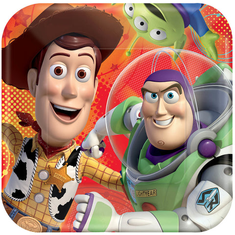 "Disney Toy Story Power Up 9"" Square Plates 8ct."