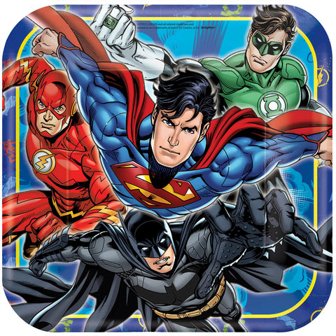 "Justice League Square Plates, 9"" 8ct."