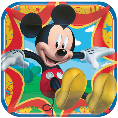 "Disney Mickey Mouse Square Plates, 9"" 8ct."