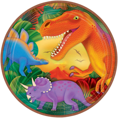 Prehistoric Dinosaurs Metallic Lunch Plates 8ct.
