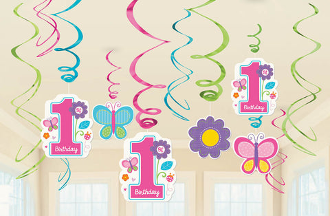 Sweet Birthday Girl Value Pack Foil Swirl Decorations 12ct.