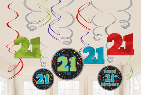 21st Brilliant Birthday Value Pack Foil Swirl Decorations 12ct.