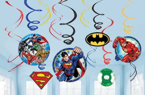 Justice League Foil Swirl Value Pack Decorations 12ct.