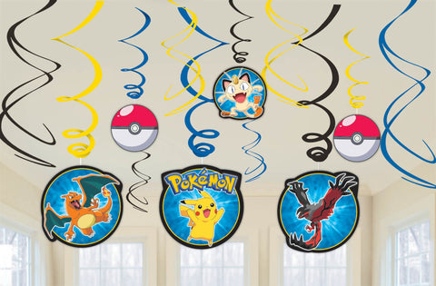 Pikachu and Friends Value Pack Plastic Swirl Decorations 12ct.
