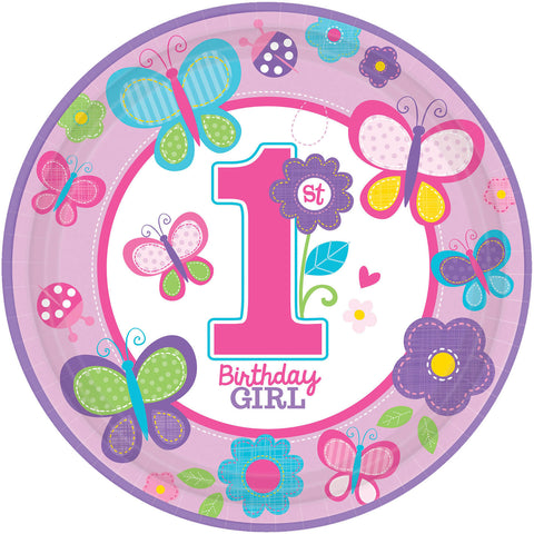 "Sweet Birthday Girl 10 1/2"" Round Plates 18ct."