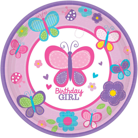 "Sweet Birthday Girl 7"" Round Plates 18ct."