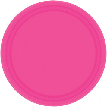 "Bright Pink 7"" Paper Plates 20ct."