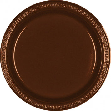 "Chocolate Brown 7"" Plastic Plates 20ct."