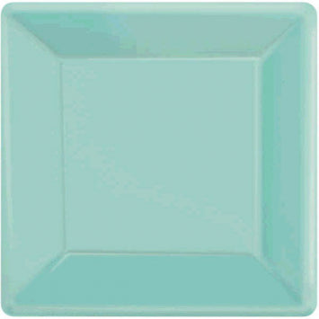 "Robin's Egg Blue 7"" Square Paper Plates 20ct."