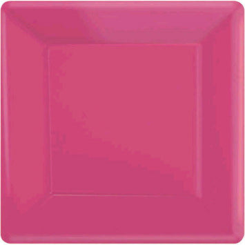 "Bright Pink 7"" Square Paper Plates 20ct."