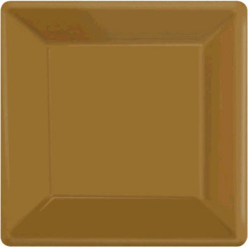 "Gold 7"" Square Paper Plates 20ct."