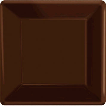 "Chocolate Brown 7"" Square Paper Plates 20ct."