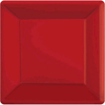"Apple Red 7"" Square Paper Plates 20ct."
