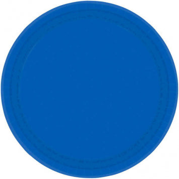 "Bright Royal Blue 9"" Paper Plates 20ct."