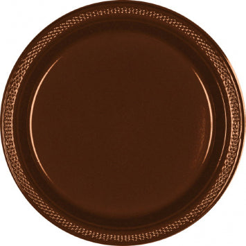 "Chocolate Brown 9"" Plastic Plates 20ct."