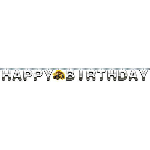 Construction Birthday Zone Jointed Banner, Foil Happy Birthday