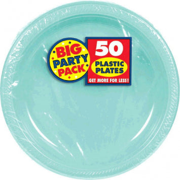 "Robin's Egg Blue Big Party Pack 10 1/4"" Plastic Plates 50ct."