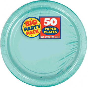 "Robin's Egg Blue Big Party Pack 9"" Paper Plates 50ct."