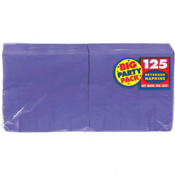 New Purple Big Party Pack Beverage Napkins 125ct.