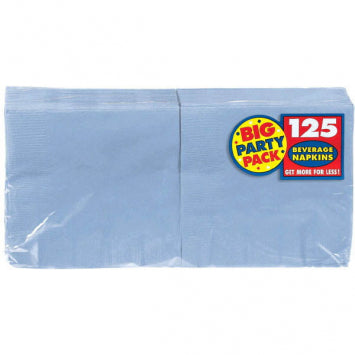 Pastel Blue Big Party Pack Beverage Napkins 125ct.