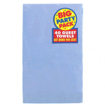 Pastel Blue Big Party Pack 2-Ply Guest Towels 40ct.