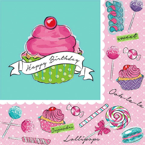 Birthday Sweets Beverage Napkins 36ct.