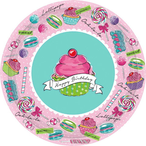 "Birthday Sweets Round Plates, 7"" 18ct."