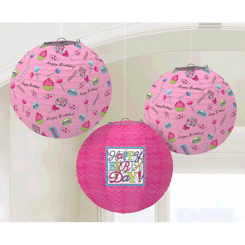 Sweet Party Printed Paper Lanterns 3ct.