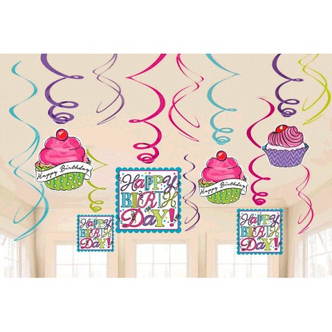Sweet Party Value Pack Foil Swirl Decorations 12ct.