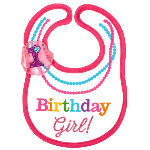 1st Birthday Rainbow Bib-Girl