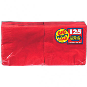 Apple Red Big Party Pack Beverage Napkins 125ct.