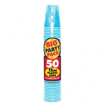 Caribbean Blue Big Party Pack 12oz. Plastic Cups 50ct.