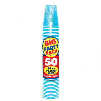 Caribbean Blue Big Party Pack Plastic 16oz. Cups 50ct.